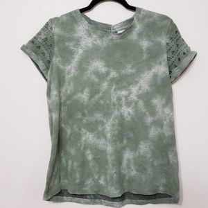 Anthropologie Akemi + Kin Tie Dye Emroidered Top S